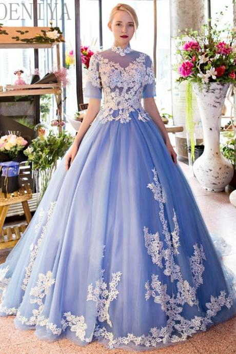 High Neck Prom Dress, Lace Applique Prom Dress, A Line Prom Dress, Prom Dresses 2018, Vestido De Festa, Cheap Prom Dress, Half Sleeve Prom Dress, Women Formal Dress, Elegant Prom Dress, Blue Prom Dress