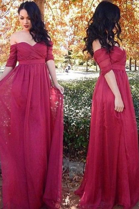 Burgundy Prom Dress, Half Sleeve Prom Dress, Chiffon Prom Dress, Prom Dresses 2018, Vestido De Festa, A Line Prom Dress, Cheap Prom Dress, Elegant Prom Dress, Off the Shoulder Prom Dress