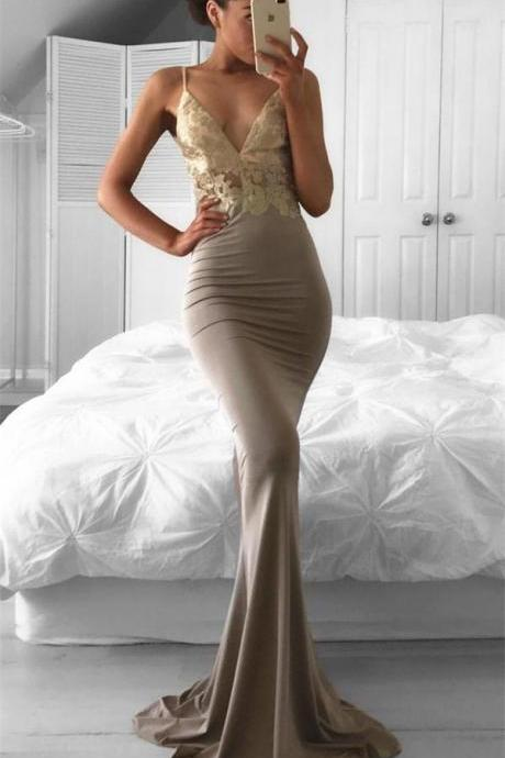 Sexy Evening Dress, Fishtail Evening Dress, Mermaid Evening Dress, Gold Evening Dress, Lace Applique Evening Dress, Evening Dresses 2018, Cheap Evening Dress, Evening Dresses for Women, Spaghetti Strap Evening Dress, Women Formal Dresses