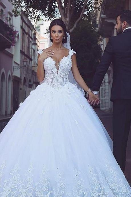 Saudi Arabic Wedding Dress, Deep V Neck Wedding Dress, Elegant Wedding Dress, Luxury Wedding Dress, Wedding Ball Gown, Cheap Wedding Dress, Floral Wedding Dress, Wedding Dresses 2018, Vestido De Novia