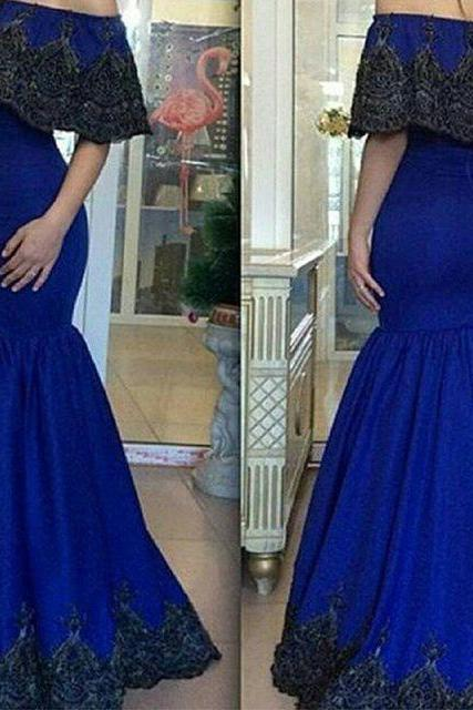 Mermaid Evening Dress, Lace Applique Evening Dress, Royal Blue Evening Dress, Off the Shoulder Evening Dress, Saudi Arabic Evening Dress, Elegant Evening Dress, Evening Dresses Long, Dubai Evening Dress