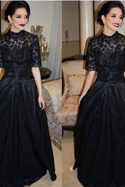 Short Sleeve Prom Dress, Vintage Prom Dress, Lace Prom Dress, Black Prom Dress, Prom Dresses 2018, Saudi Arabic Prom Dress, Elegant Prom Dress, Cheap Graduation Dress, Women Formal Dress, Vestido De Festa
