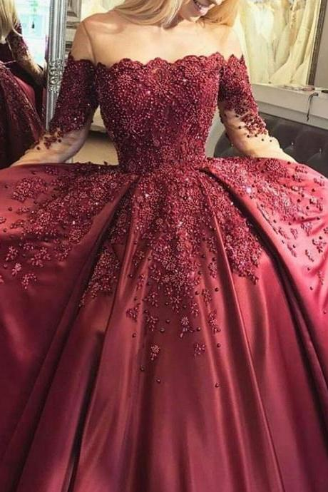 Burgundy Prom Dress, Beaded Prom Dress, Off the Shoulder Prom Dress, Long Sleeve Prom Dress, Elegant Prom Dress, A Line Prom Dress, Lace Applique Prom Dress, Prom Dresses 2018, Cheap Graduation Dresses