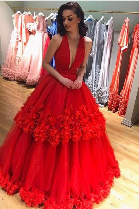 Red Prom Dress, V Neck Prom Dress, Floral Prom Dress, A Line Prom Dress, Prom Dresses 2018, Cheap Graduation Dresses, Elegant Prom Dress, Pageant Dresses for Women, Sexy Formal Dress, Prom Ball Gown