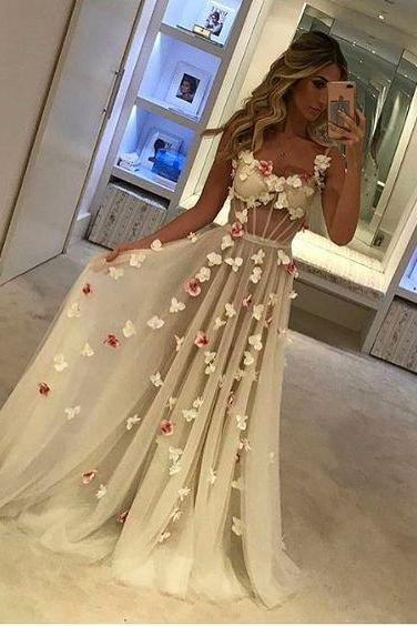 Floral Prom Dress, Elegant Prom Dress, Cheap Prom Dress, Sexy Prom Dress, Prom Dresses 2018, Sheer Prom Dress, Spaghetti Strap Prom Dress, A Line Prom Dress, Women Formal Dress, Cheap Prom Dress