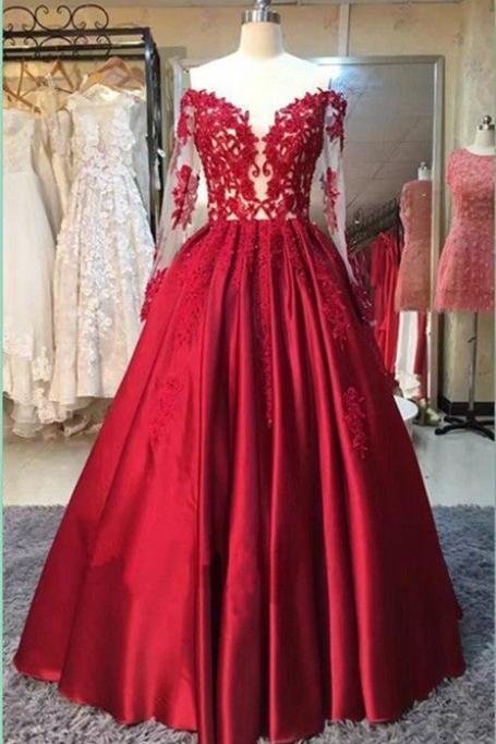Off the Shoulder Prom Dress, Lace Applique Prom Dress, Red Prom Dress, A Line Prom Dress, Satin Prom Dress, Prom Dresses 2018, Cheap Prom Dress, Floor Length Prom Dresses, Women Formal Dresses