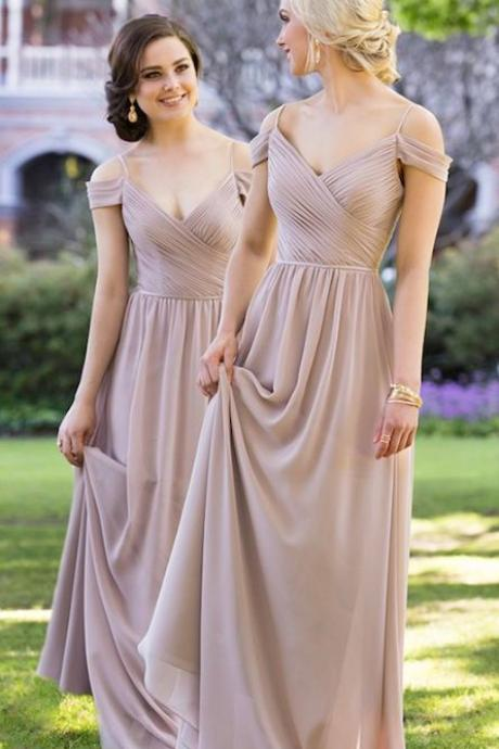 Silver Bridesmaid Dress, Off the Shoulder Bridesmaid Dress, Elegant Bridesmaid Dress, Long Bridesmaid Dress, Cheap Bridesmaid Dress, Chiffon Bridesmaid Dress, Bridesmaid Dresses 2018, Custom Bridesmaid Dress