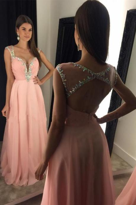 Pink Prom Dress, A Line Prom Dress, Beaded Prom Dress, Chiffon Prom Dress, Cap Sleeve Prom Dress, Elegant Prom Dress, Prom Dresses 2018, Cheap Prom Dress, Sexy Formal Dress, Backless Prom Dress, Women Formal Dresses