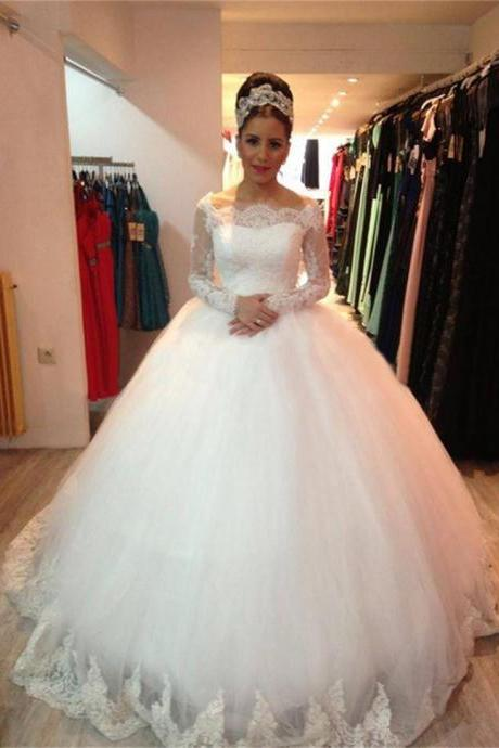 Elegant Wedding Dress, Wedding Ball Gown, Boat Neck Wedding Dress, Long Sleeve Wedding Dress, Wedding Dresses 2018, Cheap Bridal Ball Gown, Vestido De Noiva