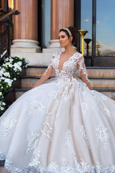 Long Sleeve Wedding Dress, Lace Applique Wedding Dress, Deep V Neck Wedding Dress, Cheap Wedding Dress, Bridal Dresses 2018, Vestido De Noiva, Puffy Wedding Dress, Princess Wedding Dress, Elegant Wedding Dress