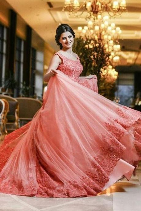 Coral Prom Dress, Prom Ball Gown, Lace Applique Prom Dress, Saudi Arabic Prom Dress, Elegant Prom Dress, Floor Length Prom Dress, Cheap Graduation Dresses, Affordable Prom Dress
