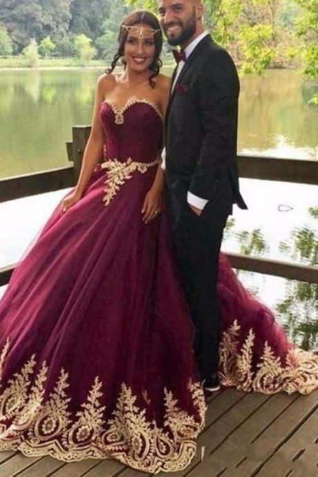 Burgundy Prom Dress, Lace Applique Prom Dress, Arabic Prom Dress, Elegant Prom Dress, Cheap Prom Dress, Prom Ball Gown, Tulle Prom Dress, Prom Dresses 2018, Muslim Prom Ball Gown