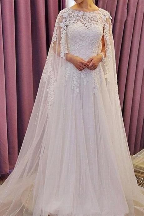 Muslim Wedding Dress, Lace Applique Wedding Dress, Dubai Caftan, White Wedding Dress, Cheap Wedding Dress, Wedding Dresses 2018, Vestido De Novia, Elegant Wedding Dress, Custom Make Wedding Dress