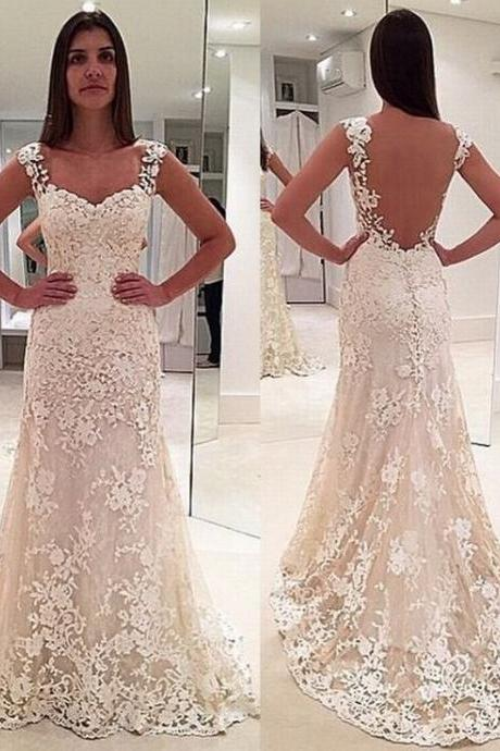 A-line Prom Dress, Lace Applique Prom Dress, Beige Prom Dress, Backless Prom Dress, Elegant Prom Dress, Prom Dresses 2018, Cheap Prom Dress, Long Prom Dress, Vestido De Festa