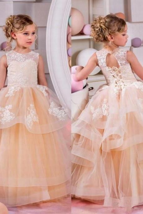 Champagne Flower Girl Dress. Lace Applique Flower Girl Dress, Cheap Flower Girl Dress, Kids Prom Dress, Kids Evening Dress, Flower Girl Dresses for Weddings