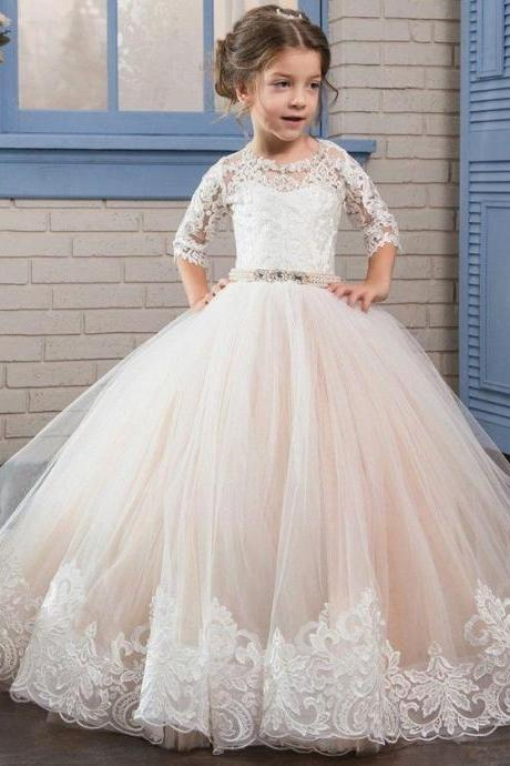 Pale Pink Flower Girl Dress, Kids Prom Dress, Flower Girl Dresses for Weddings, Lace Applique Flower Girl Dress, Elegant Flower Girl Dress, Cheap Flower Girl Dress, Flower Girl Dresses 2018