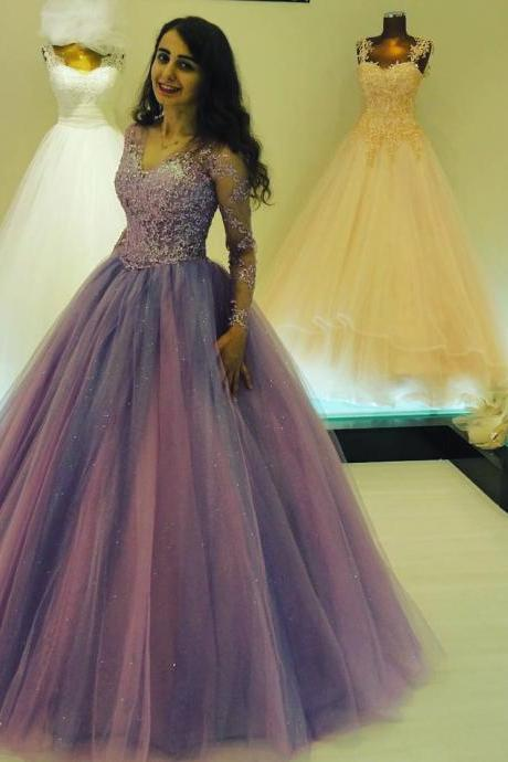 Dubai Prom Dress, Purple Prom Dress, Long Sleeve Prom Dress, Elegant Prom Dress, Beaded Prom Dress, Women Formal Dress, Prom Dresses 2018, Saudi Arabic Prom Dress, V Neck Prom Dress