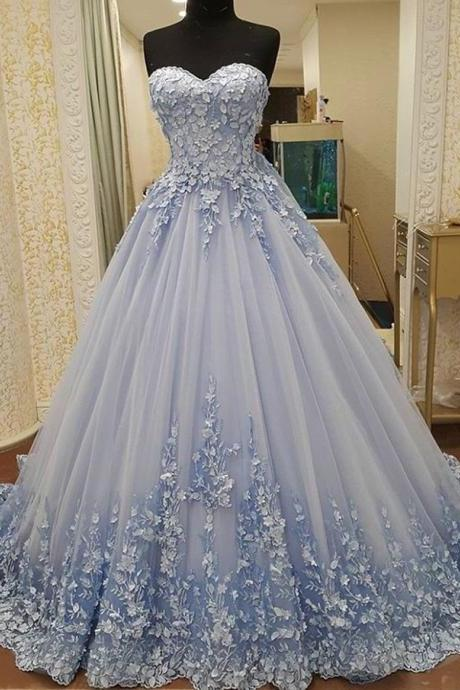 Blue Prom Dress, Floral Prom Dress, Flowers Prom Dress, A Line Prom Dress, 2018 Prom Dresses, Real Photo Prom Dress, Vestido De Festa, Elegant Prom Dress, Luxury Prom Dress