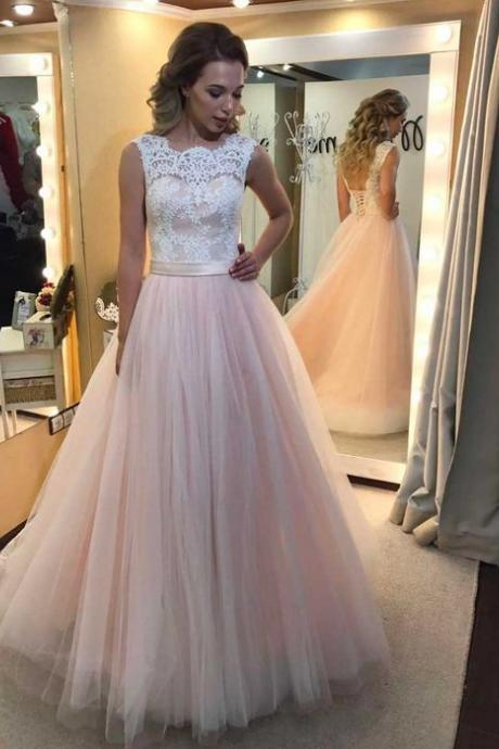 Pink Prom Dress, Prom Ball Gown, Lace Applique Prom Dress, Elegant Prom Dress, Prom Dresses 2018, Vestido De Festa, Cheap Prom Dress, Prom Dresses for Girls, Arabic Prom Dress