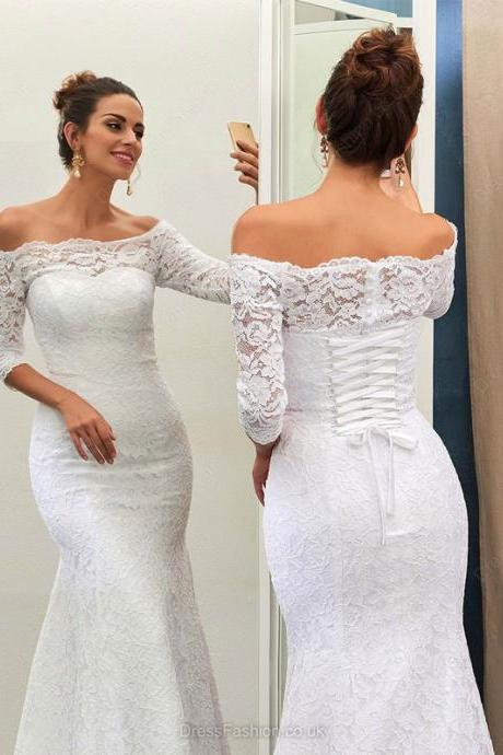 Lace Wedding Dress, Mermaid Wedding Dress, White Wedding Dress, Cheap Wedding Dress, Wedding Dresses 2018, Simple Wedding Dress, Wedding Dresses with Sleeves, Elegant Wedding Dress