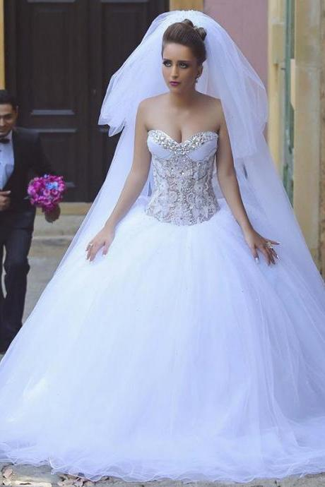 Strapless Sweetheart Beaded White Ball Gown Wedding Dress