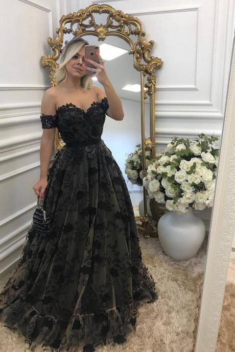 Black Prom Dress, A Line Prom Dress, Lace Prom Dress, Floor Length Prom Dress, Prom Dresses 2018, Vestido De Festa, Off Shoulder Prom Dress, Cheap Prom Dress, Women Formal Dresses