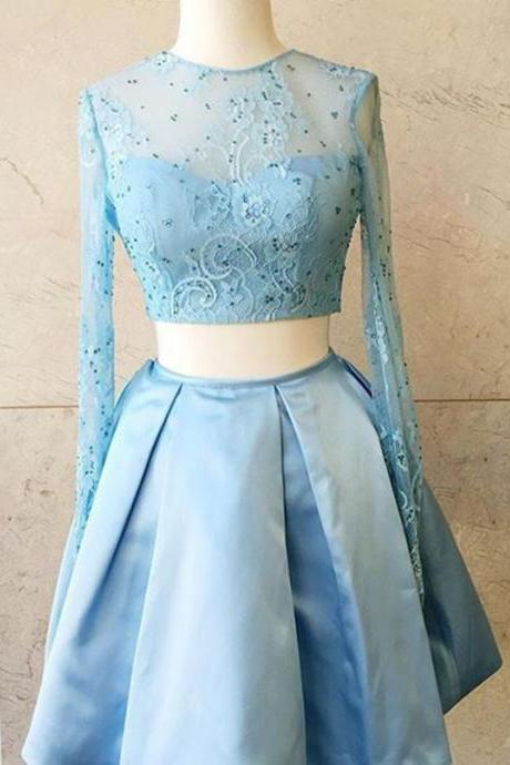 Blue Prom Dress, 2 Piece Prom Dresses, Short Homecoming Dress, Cocktail Party Dresses, Lace Prom Dress, Long Sleeve Prom Dress, Homecoming Dresses 2018, Vestido De Curto