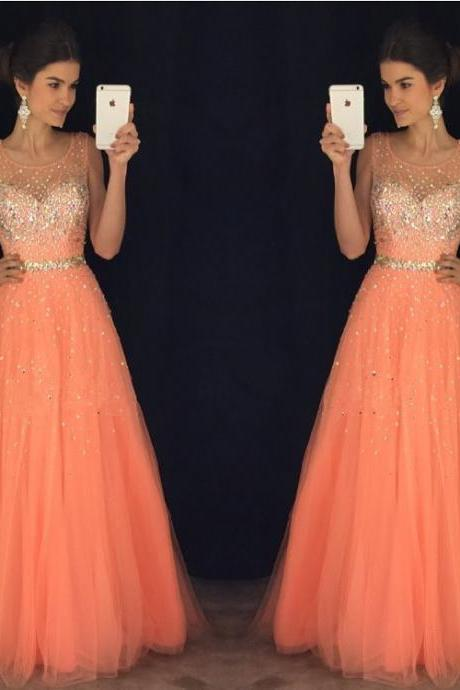 Coral Prom Dress, Beaded Prom Dress, Sweet 18 Dresses, A Line Prom Dress, Tulle Prom Dress, Elegant Prom Dress, Floor Length Prom Dress, Prom Dresses 2018, Women Formal Dress, Cheap Prom Dress