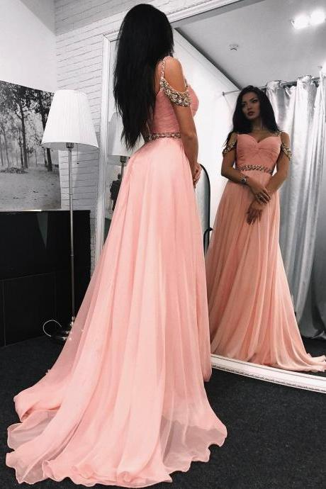 Blush Pink Prom Dress, Beaded Prom Dress, A Line Prom Dress, Chiffon Prom Dress, Prom Dresses 2018, Elegant Prom Dress, Sexy Formal Dress, Cheap Prom Dress, Women Formal Dresses