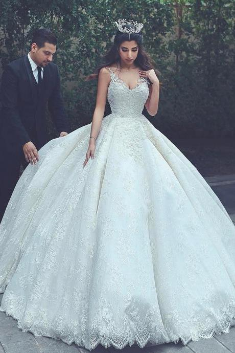 Wedding Ball Gown, Ivory Wedding Dress, Lace Applique Wedding Dress, V Neck Wedding Dress, Elegant Wedding Dress, Vestido De Novia, Simple Wedding Dress, Wedding Dresses 2018, Saudi Arabic Wedding Dress