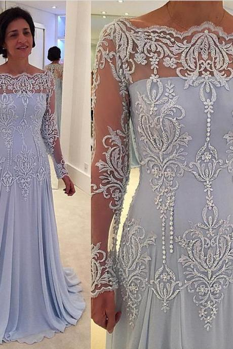 Mother of the Bride Dresses, Lace Applique Evening Dress, Modest Evening Dress, Blue Evening Dress, Evening Dresses 2018, Long Sleeve Evening Dress, Mermaid Evening Dress, Elegant Evening Dress