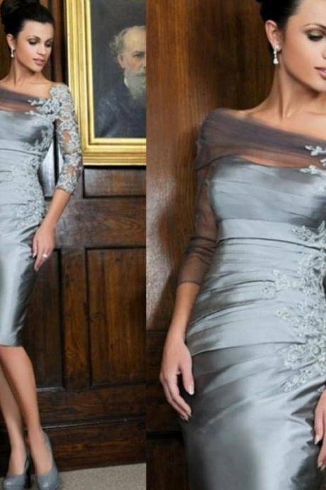 Long Sleeve Evening Dress, Mother of the Bride Dresses, Modest Evening Dress, Silver Gray Evening Dress, Lace Applique Evening Dress, Short Evening Dress, Mermaid Evening Dress, Women Formal Dress, Evening Dresses 2018