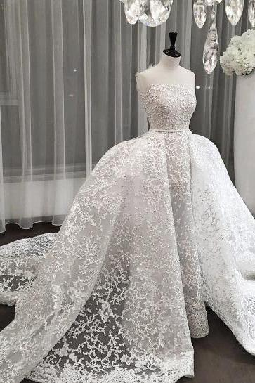 Lace Wedding Dress, Strapless Wedding Dress, Luxury Wedding Dress, Beaded Wedding Dress, Detachable Skirt Wedding Dress, White Wedding Dress, Gorgeous Wedding Dress, Wedding Dresses 2018, Vestido De Novia