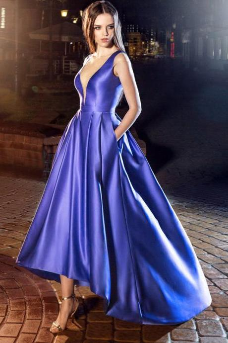High Low Prom Dress, Royal Blue Prom Dress, Satin Prom Dress, Sexy Prom Dress, Deep V Neck Prom Dress, Prom Dresses 2018, Cocktail Dresses Party Dresses, Sleeveless Prom Dress, Cheap Prom Dress