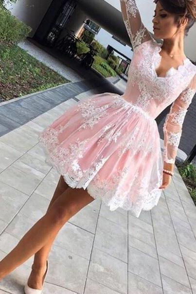 Pink Homecoming Dress, Lace Applique Homecoming Dress, Cocktail Dresses Party Dresses, Short Homecoming Dress, Long Sleeve Homecoming Dress, Prom Dresses Short, Beaded Prom Dresses