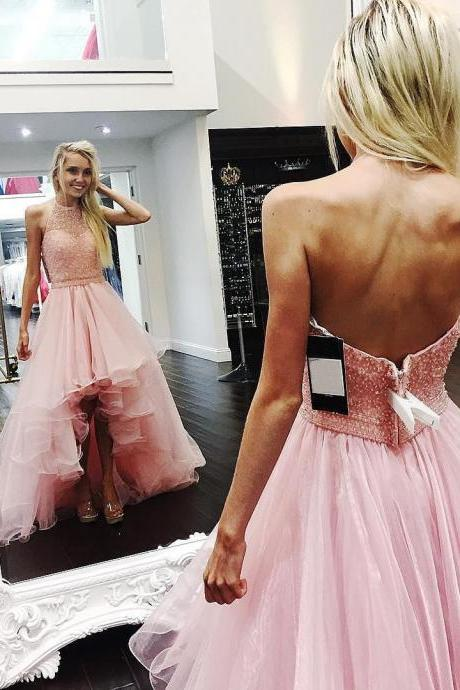 Pink Prom Dress, High Low Prom Dress, Prom Dresses 2018, Beaded Prom Dress, Backless Prom Dress, Sexy Prom Dress, Prom Dresses for Women, A Line Prom Dress, Tulle Prom Dress, Vestido De Festa