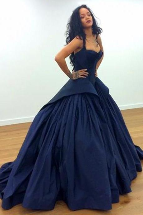Navy Blue Prom Dress, Prom Ball Gown, Sexy Prom Dress, Spaghetti Strap Prom Dress, Elegant Prom Dress, Vestido De Festa, Cheap Prom Dress, Prom Dresses 2018, Women Formal Dresses