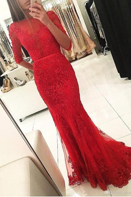 Red Evening Dress, Long Sleeve Evening Dress, Lace Applique Evening Dress, Beaded Evening Dress, Elegant Evening Dress, Cheap Evening Dress, Evening Dresses 2018, Women Formal Dress, Modest Evening Dress, Mermaid Evening Dress