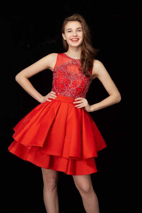 Red Homecoming Dress, Homecoming Dresses Short, Beaded Prom Dress, Cocktail Party Dresses, Cheap Homecoming Dress, Homecoming Dresses 2018, A Line Prom Dress, Satin Prom Dress, Cocktail Dresses 2018