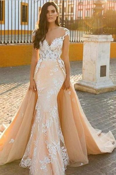 Cap Sleeve Evening Dress, Detachable Skirt Evening Dress, Peach Evening Dress, Lace Applique Evening Dress, Evening Dresses 2018, Mermaid Evening Dress, V Neck Evening Dress, Elegant Evening Dress, Cheap Evening Dress
