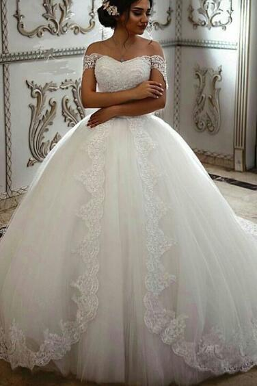 Off the Shoulder Wedding Dress, White Wedding Dress, Saudi Arabic Wedding Dress, Wedding Ball Gown, Elegant Wedding Dress, Wedding Dresses 2018, Cheap Wedding Dress, Vestido De Novia