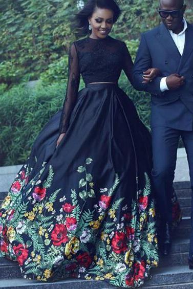 Printed Prom Dress, 2 Piece Prom Dresses, Black Prom Dress, Long Sleeve Prom Dress, Prom Dresses 2018, Elegant Prom Dress, O Neck Prom Dress, Floor Length Prom Dress, Vestido De Festa