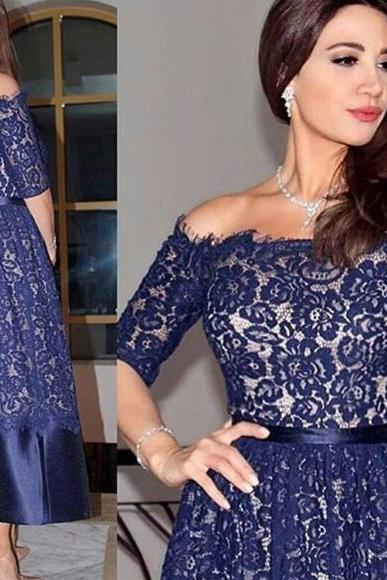 Navy Blue Prom Dress, Lace Prom Dress, Mother of the Bride Dresses, Off the Shoulder Prom Dress, A Line Prom Dress, Ankle Length Prom Dress, Prom Dresses 2018, Vestido De Festa