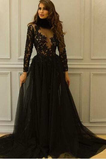 Black Prom Dress, High Neck Prom Dress, Lace Applique Prom Dress, Tulle Prom Dress, Long Sleeve Prom Dress, Modest Prom Dress, A Line Prom Dress, Cheap Prom Dress, Arabic Prom Dress