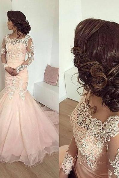 Boat Neck Evening Dress, Long Sleeve Evening Dress, Lace Applique Evening Dress, Evening Dresses 2018, Women Formal Dress, Pink Evening Dress, Sexy Evening Dress, Arabic Evening Dress, Evening Gown