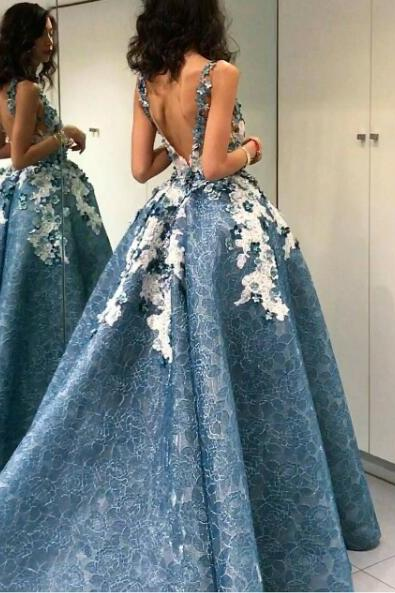 High Low Prom Dress, Blue Prom Dress, Lace Prom Dress, Puffy Prom Dress, Handmade Flowers Prom Dress, Prom Dresses 2018, Backless Prom Dress, Sexy Prom Dress, Elegant Prom Dress