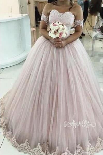 Pink Prom Dress, Ball Gown Prom Dress, Lace Applique Prom Dress, Elegant Prom Dress, Off the Shoulder Prom Dress, Princess Prom Dress, Vestido De Festa, Cheap Prom Dress, Prom Ball Gowns