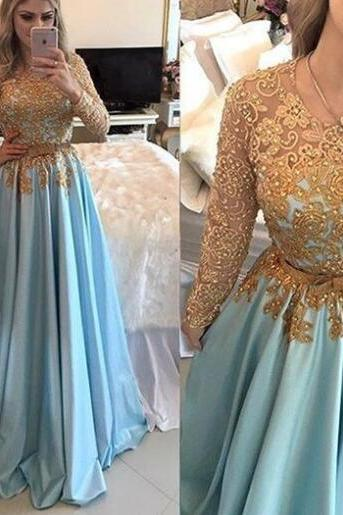 Blue Prom Dress, Long Sleeve Prom Dress, Elegant Prom Dress, Lace Applique Prom Dress, Beaded Prom Dress, Long Prom Dress, Prom Dresses 2018