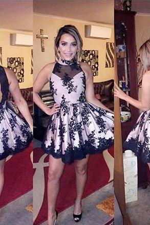 Black Lace Homecoming Dress, Short Homecoming Dress, Applique Prom Dress, Cheap Homecoming Dress, High Neck Homecoming Dress, Cocktail Party Dresses