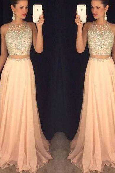 2 Piece Prom Dresses, Pale Pink Prom Dress, Beaded Prom Dress, Chiffon Prom Dress, A Line Prom Dress, Long Prom Dress, Elegant Prom Dress, Prom Dresses 2018, Cheap Prom Dress, Sexy Prom Dress, Backless Prom Dress